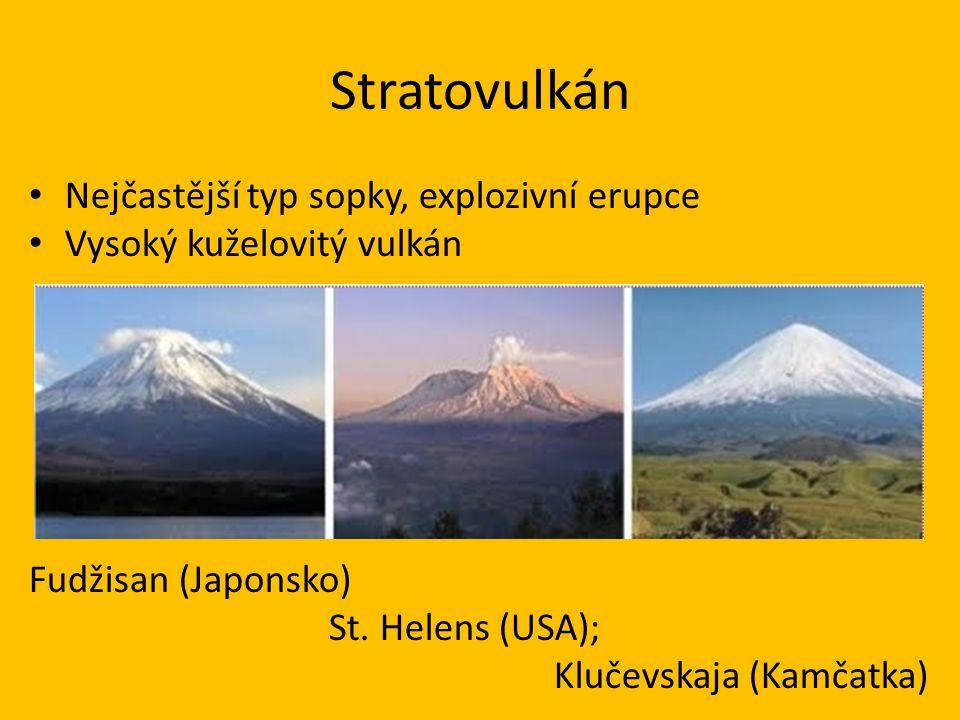 Stratovulkán Nejčastější typ sopky, explozivní erupce