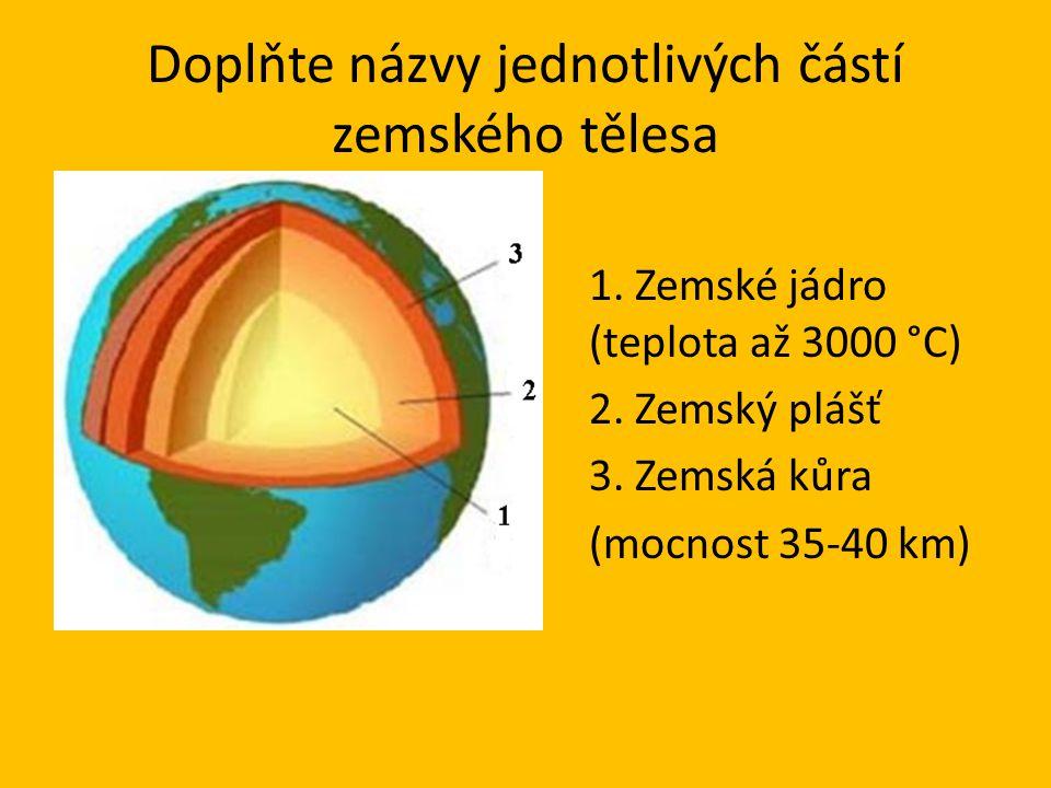 Doplňte názvy jednotlivých částí zemského tělesa