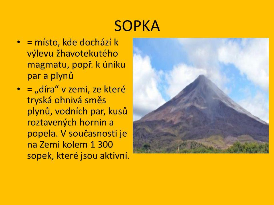 SOPKA = místo, kde dochází k výlevu žhavotekutého magmatu, popř. k úniku par a plynů.