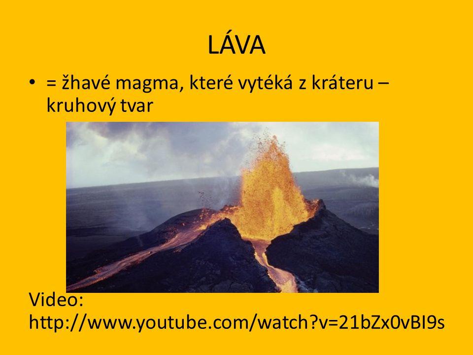 LÁVA = žhavé magma, které vytéká z kráteru – kruhový tvar