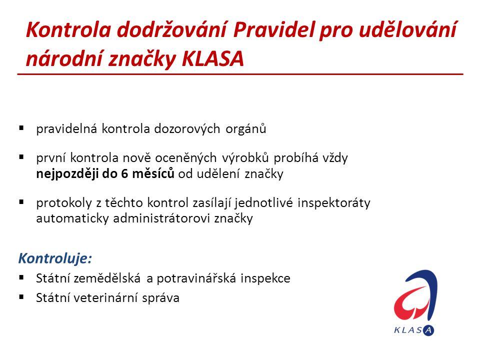 Kontrola dodržování Pravidel pro udělování národní značky KLASA
