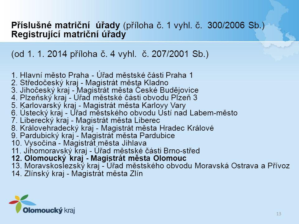 (od 1. 1. 2014 příloha č. 4 vyhl. č. 207/2001 Sb.)