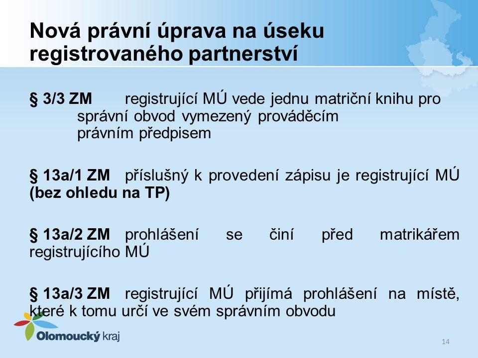Nová právní úprava na úseku registrovaného partnerství