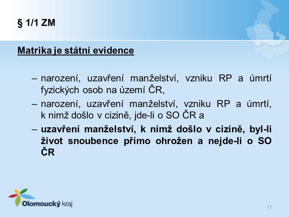 Matrika je státní evidence