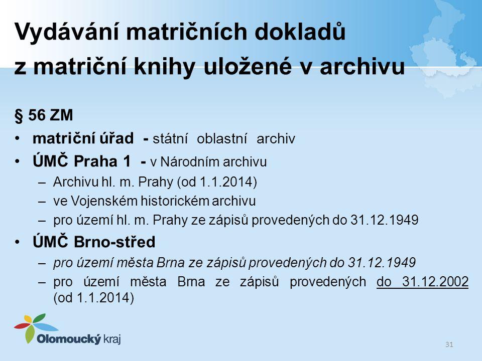 Vydávání matričních dokladů z matriční knihy uložené v archivu