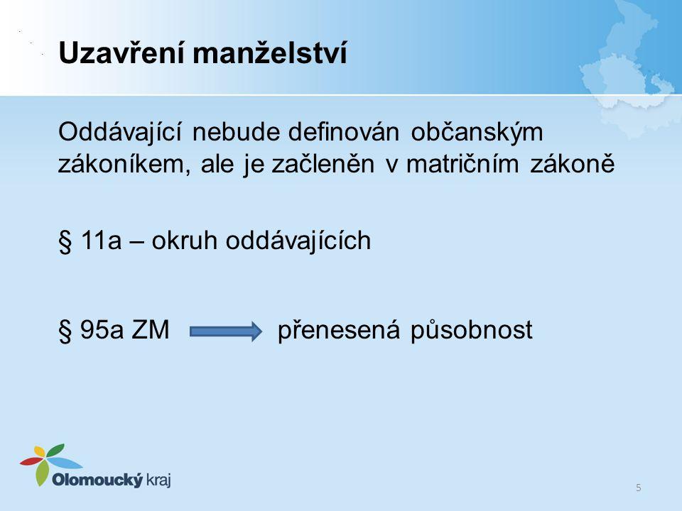 . . Uzavření manželství. Oddávající nebude definován občanským zákoníkem, ale je začleněn v matričním zákoně.
