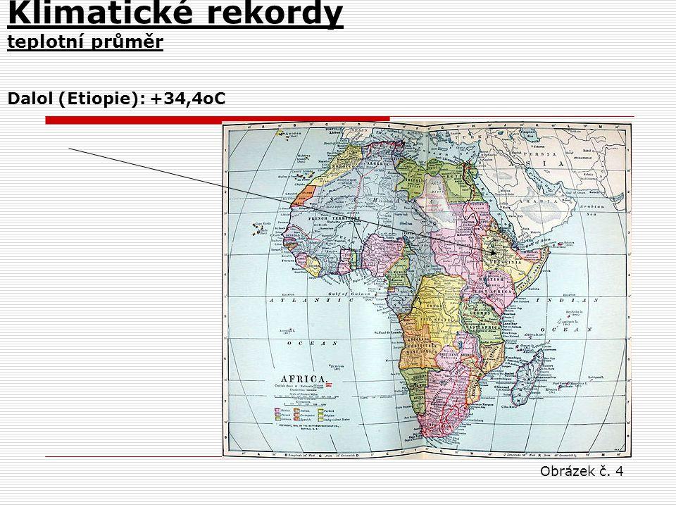 Klimatické rekordy teplotní průměr Dalol (Etiopie): +34,4oC