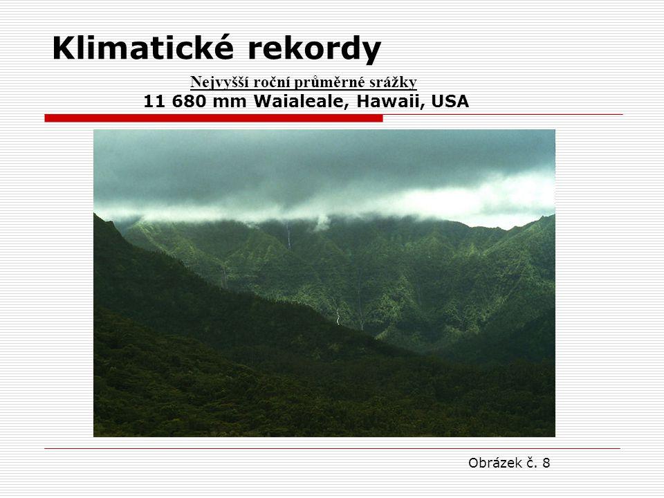 Nejvyšší roční průměrné srážky 11 680 mm Waialeale, Hawaii, USA