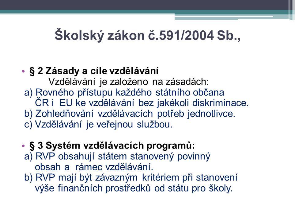 Školský zákon č.591/2004 Sb., § 2 Zásady a cíle vzdělávání