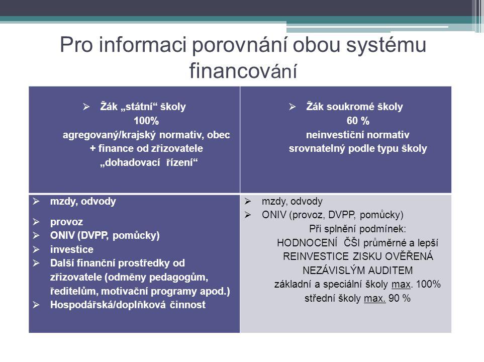 Pro informaci porovnání obou systému financování