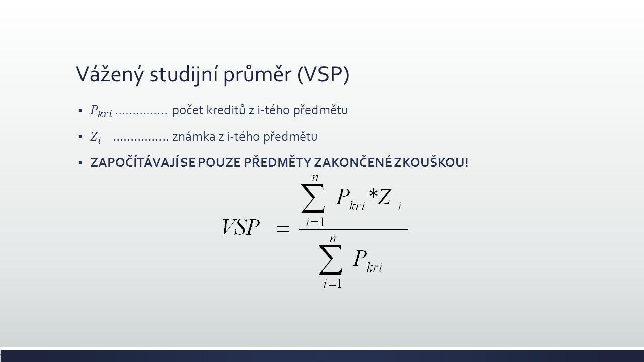 Vážený studijní průměr (VSP)