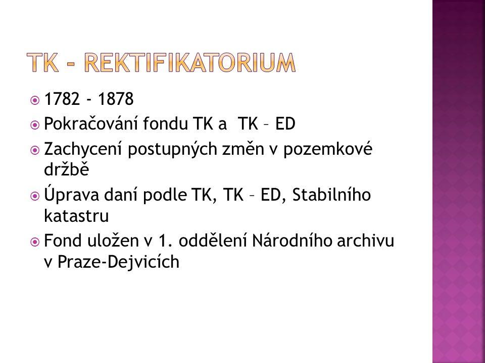 TK - Rektifikatorium 1782 - 1878 Pokračování fondu TK a TK – ED
