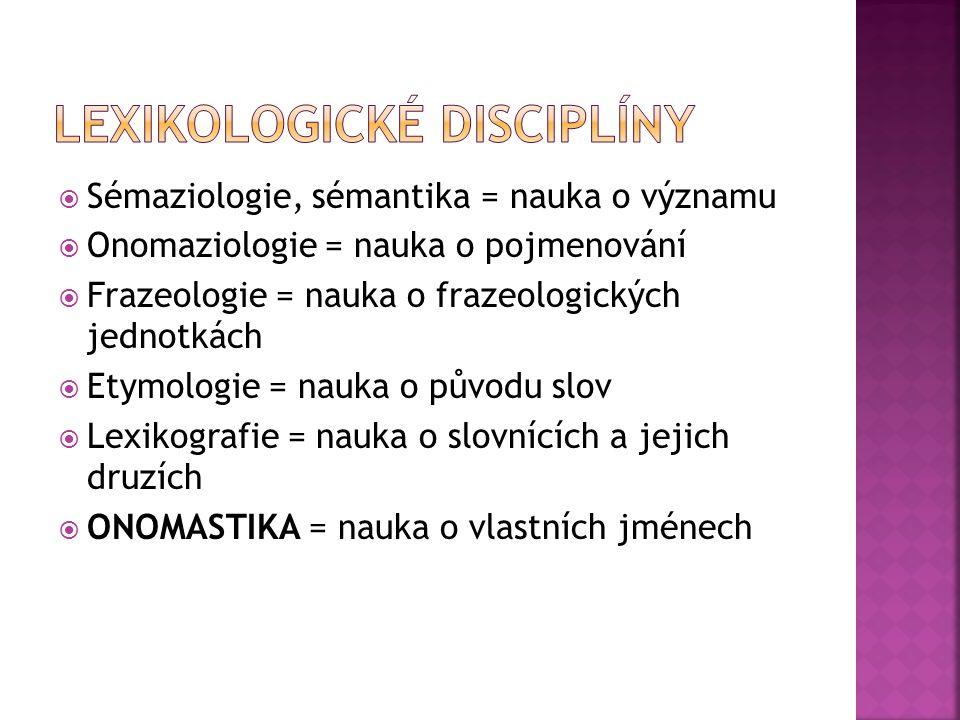 Lexikologické disciplíny