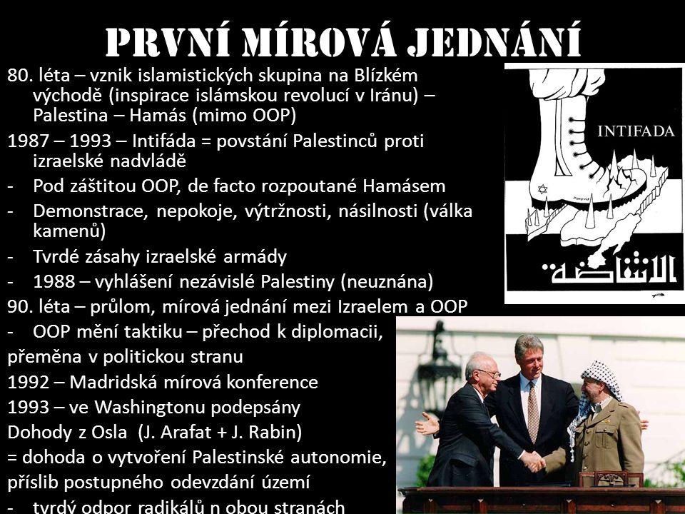 První mírová jednání 80. léta – vznik islamistických skupina na Blízkém východě (inspirace islámskou revolucí v Iránu) – Palestina – Hamás (mimo OOP)