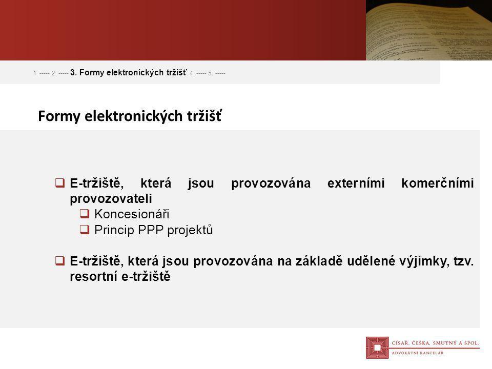 1. ----- 2. ----- 3. Formy elektronických tržišť 4. ----- 5. -----