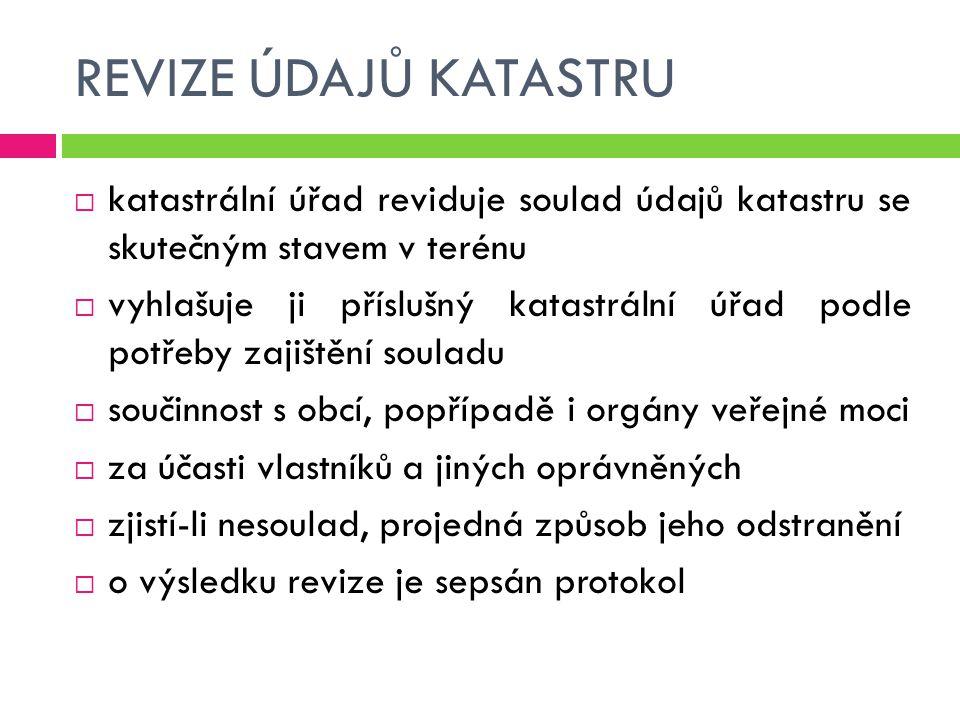 REVIZE ÚDAJŮ KATASTRU katastrální úřad reviduje soulad údajů katastru se skutečným stavem v terénu.