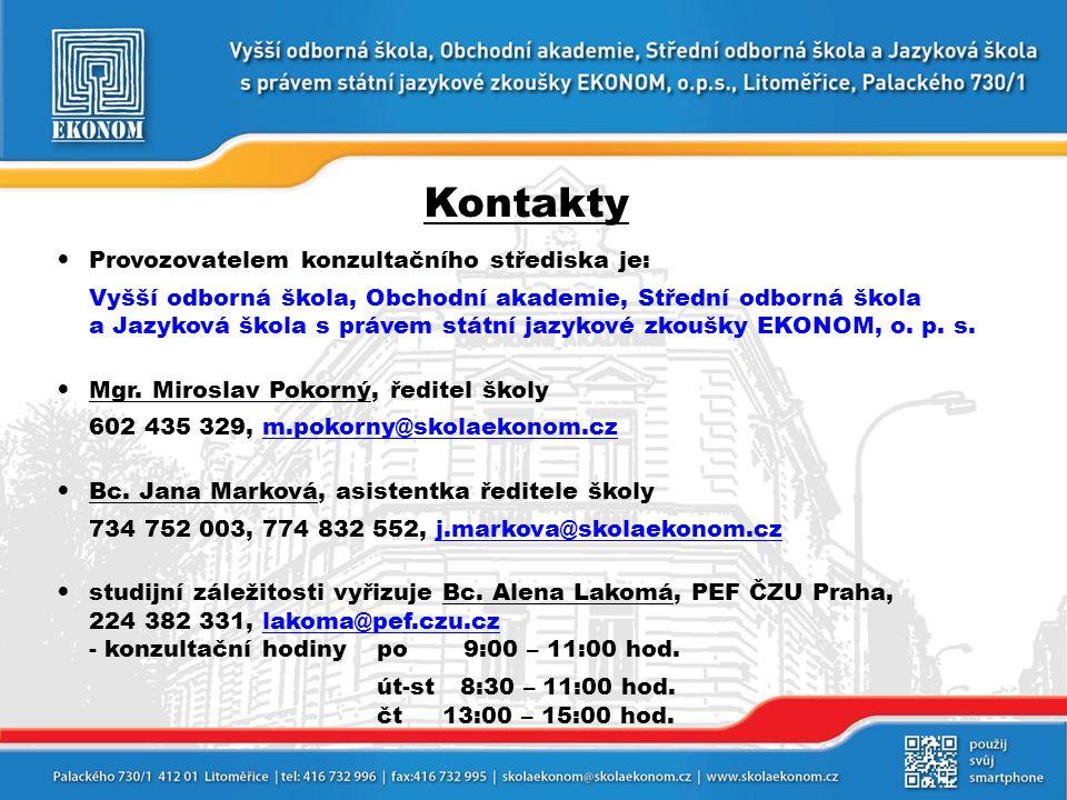 Kontakty Provozovatelem konzultačního střediska je: