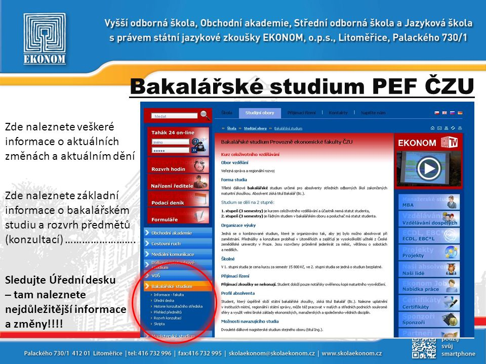 Bakalářské studium PEF ČZU