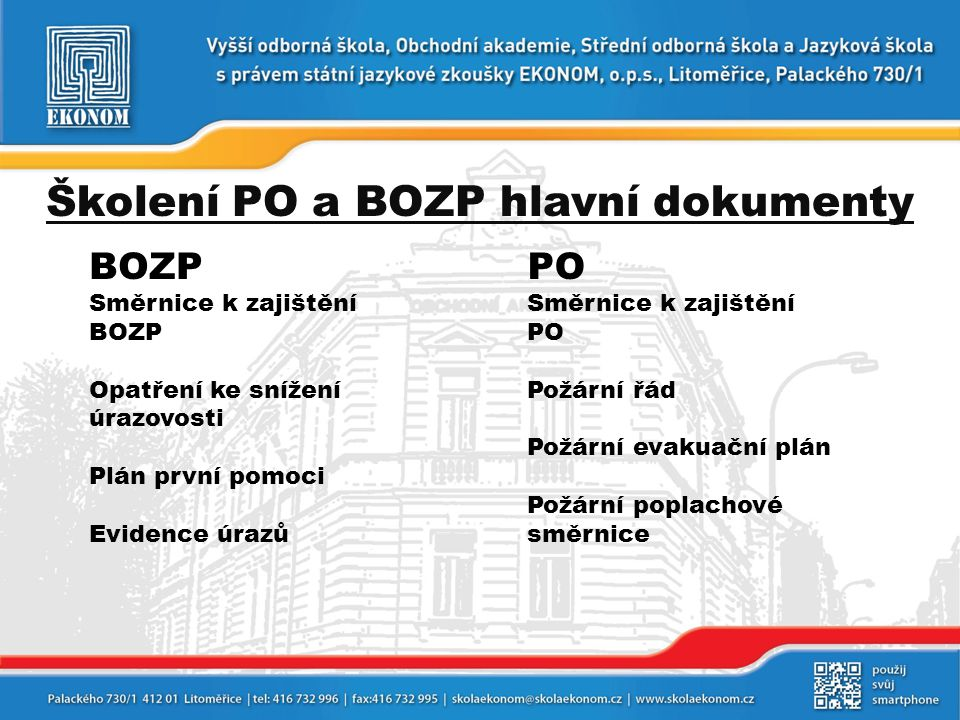 Školení PO a BOZP hlavní dokumenty
