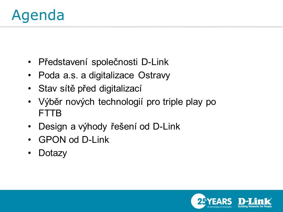 Agenda Představení společnosti D-Link Poda a.s. a digitalizace Ostravy