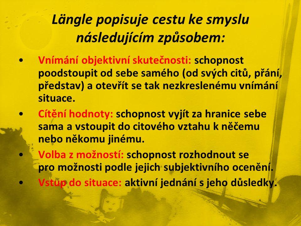 Längle popisuje cestu ke smyslu následujícím způsobem:
