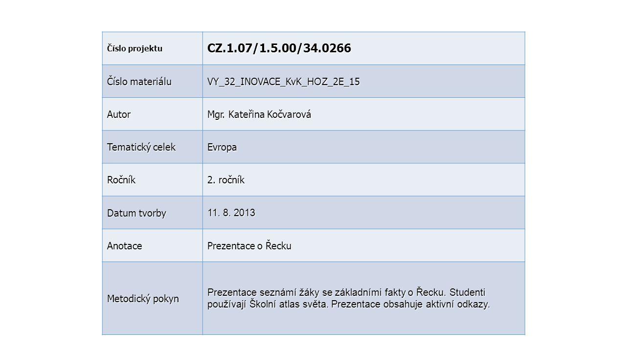 CZ.1.07/1.5.00/34.0266 Číslo materiálu VY_32_INOVACE_KvK_HOZ_2E_15