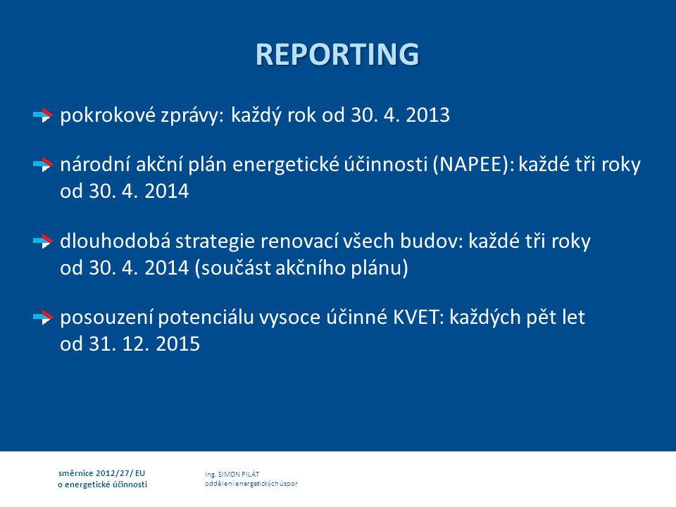 REPORTING pokrokové zprávy: každý rok od 30. 4. 2013