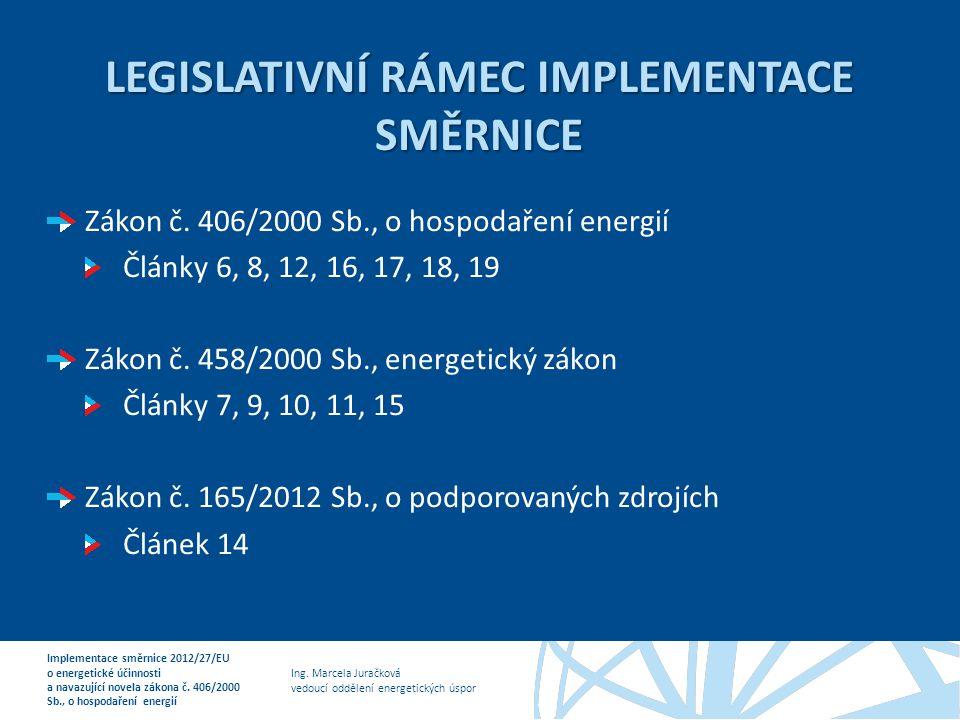 Legislativní rámec implementace směrnice