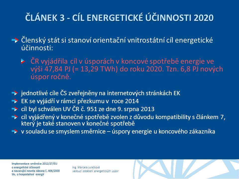 ČLÁNEK 3 - CÍL ENERGETICKÉ ÚČINNOSTI 2020
