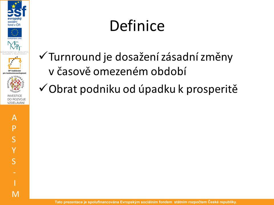 Definice Turnround je dosažení zásadní změny v časově omezeném období