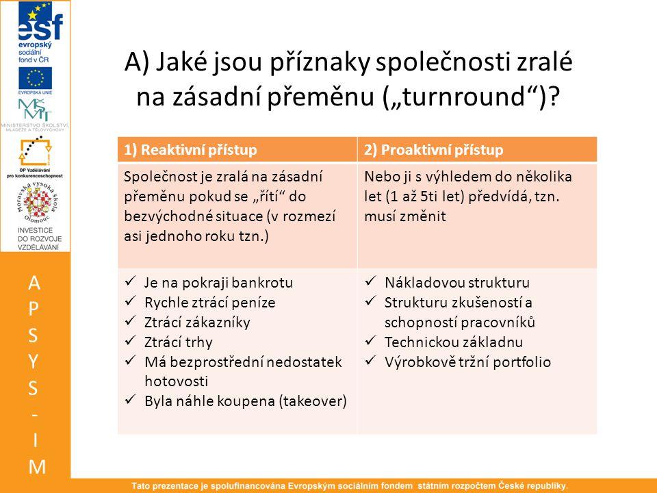 """A) Jaké jsou příznaky společnosti zralé na zásadní přeměnu (""""turnround )"""