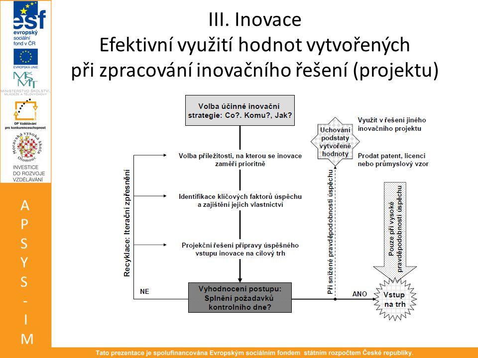 III. Inovace Efektivní využití hodnot vytvořených při zpracování inovačního řešení (projektu)