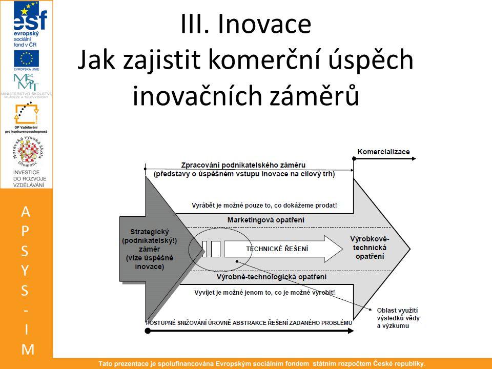 III. Inovace Jak zajistit komerční úspěch inovačních záměrů