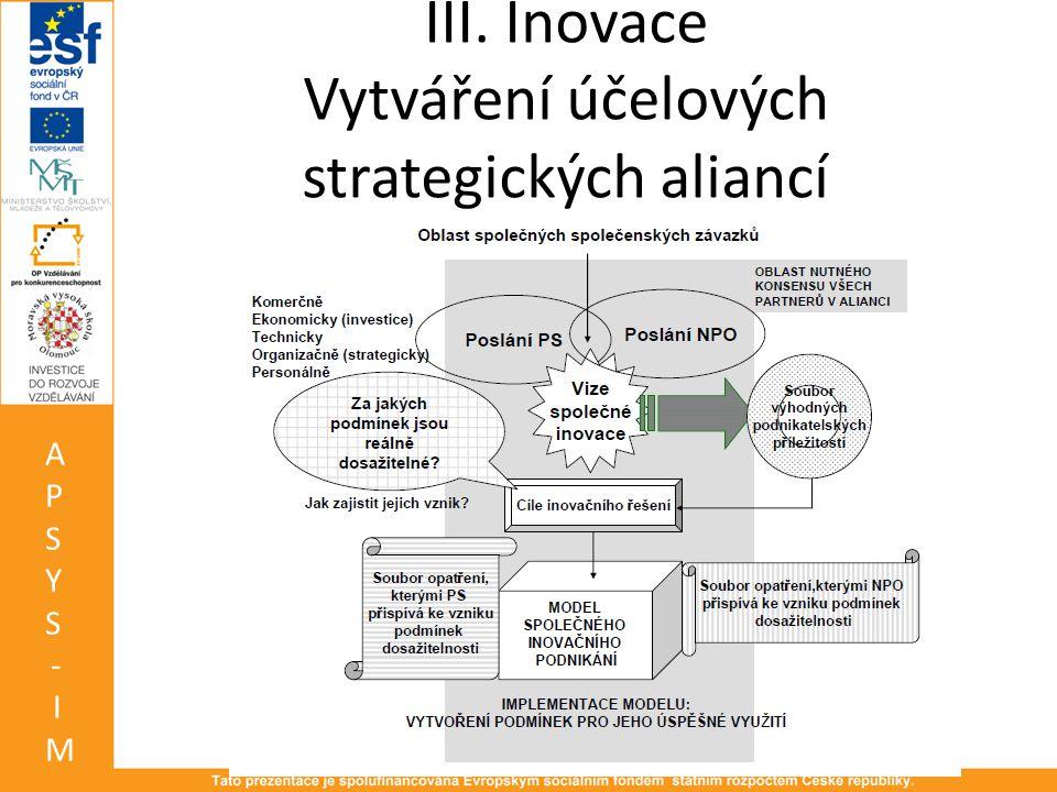 III. Inovace Vytváření účelových strategických aliancí