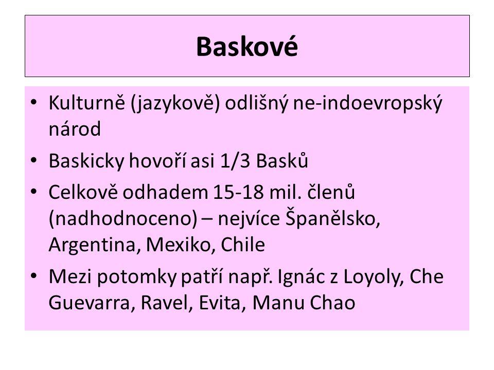 Baskové Kulturně (jazykově) odlišný ne-indoevropský národ