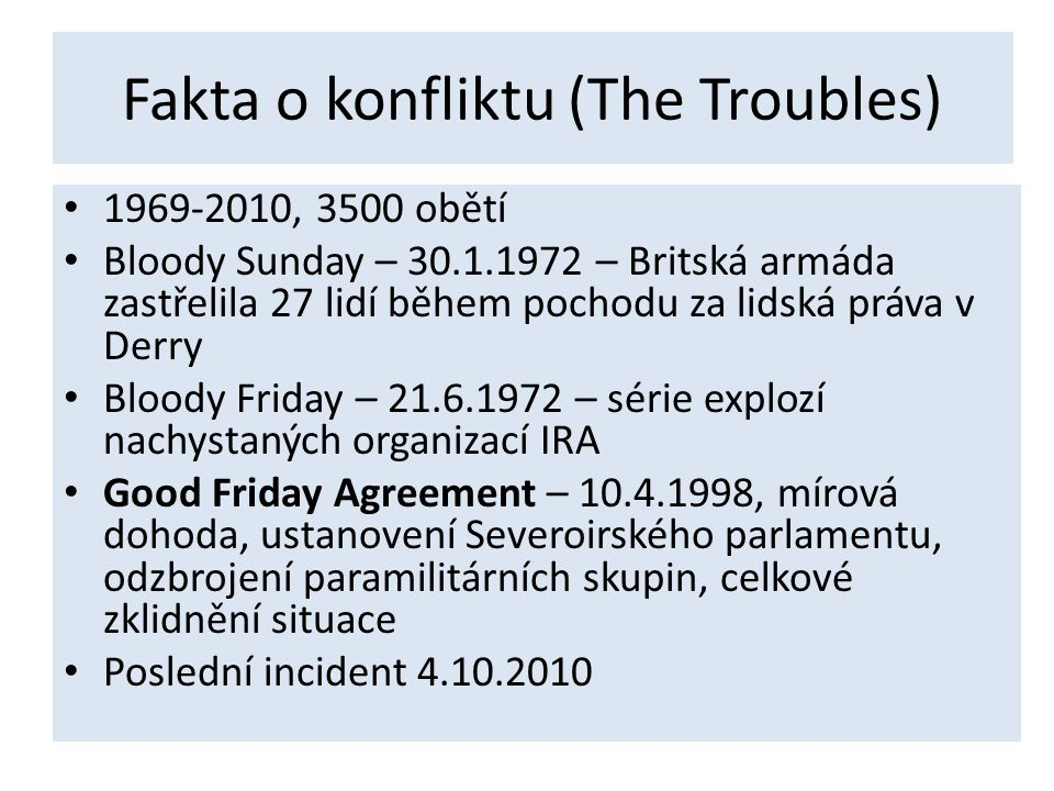 Fakta o konfliktu (The Troubles)
