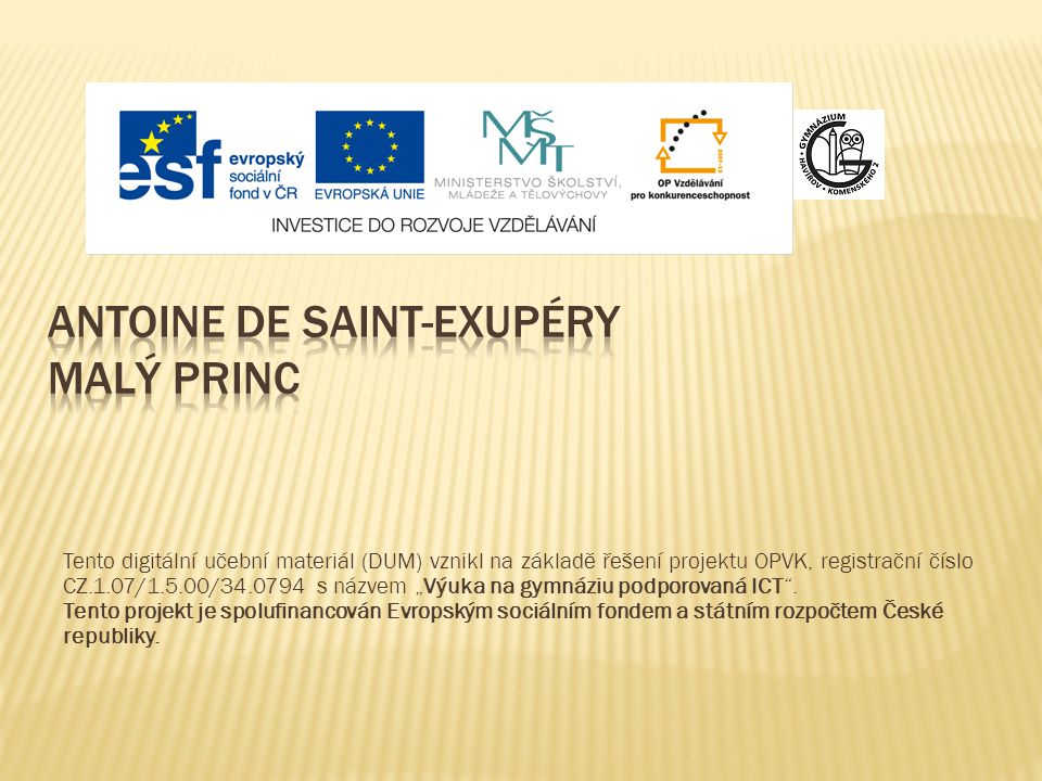 Antoine de Saint-Exupéry MALÝ PRINC