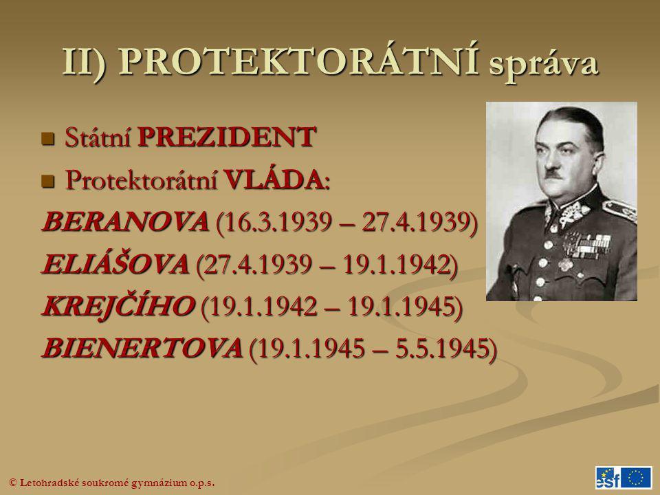 II) PROTEKTORÁTNÍ správa