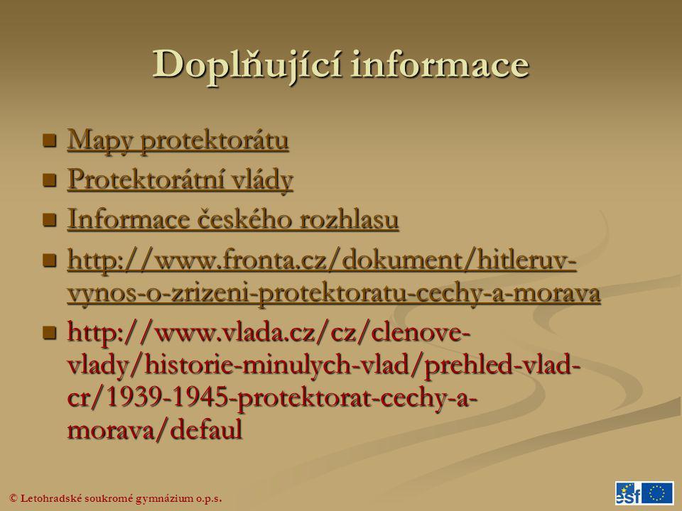 Doplňující informace Mapy protektorátu Protektorátní vlády
