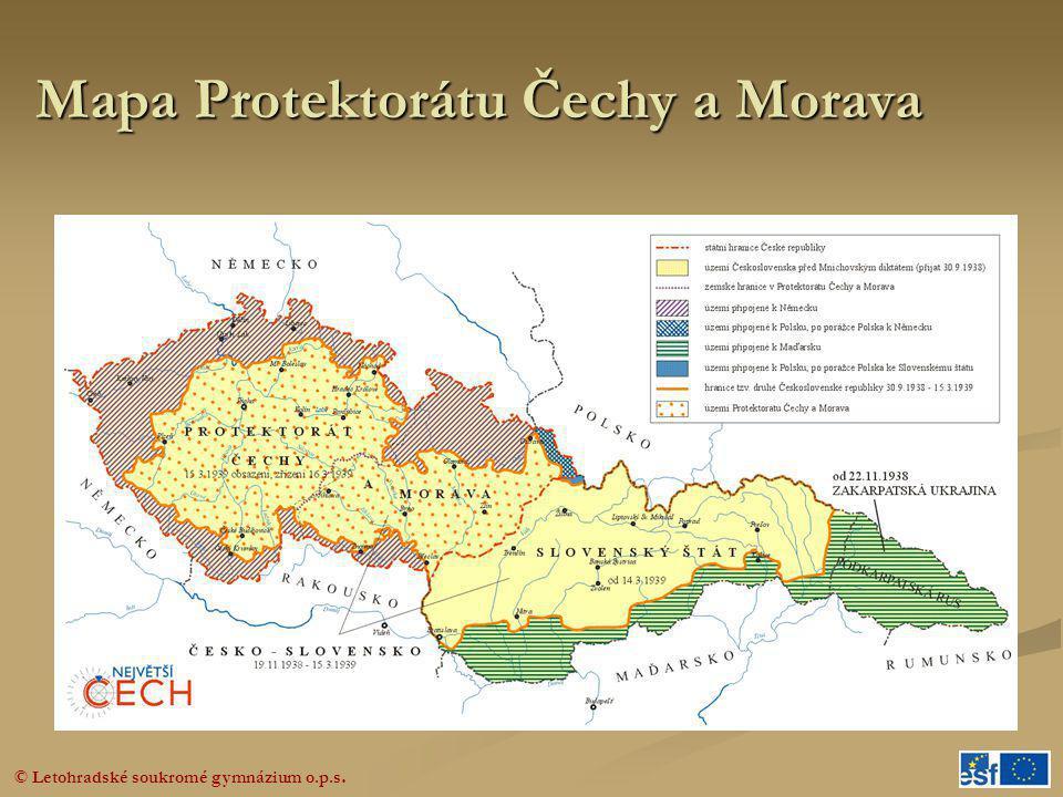 Mapa Protektorátu Čechy a Morava