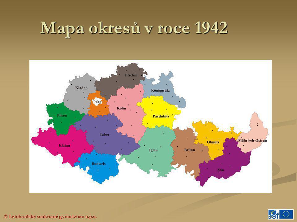 Mapa okresů v roce 1942