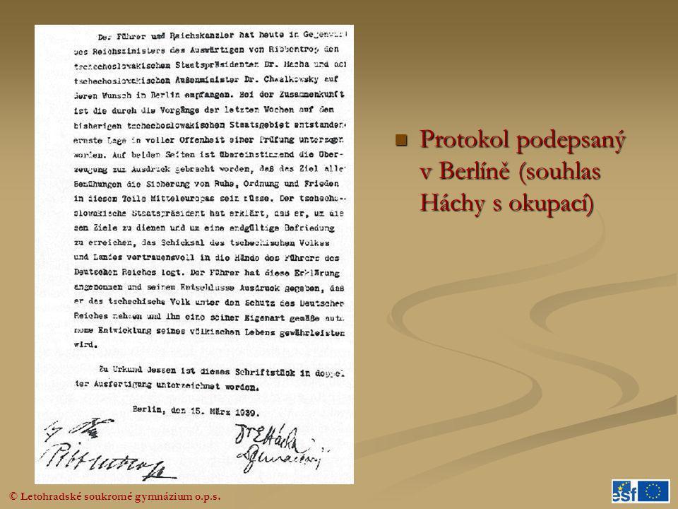 Protokol podepsaný v Berlíně (souhlas Háchy s okupací)