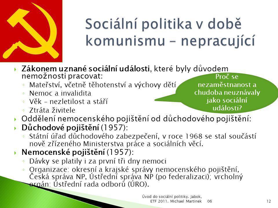 Sociální politika v době komunismu – nepracující