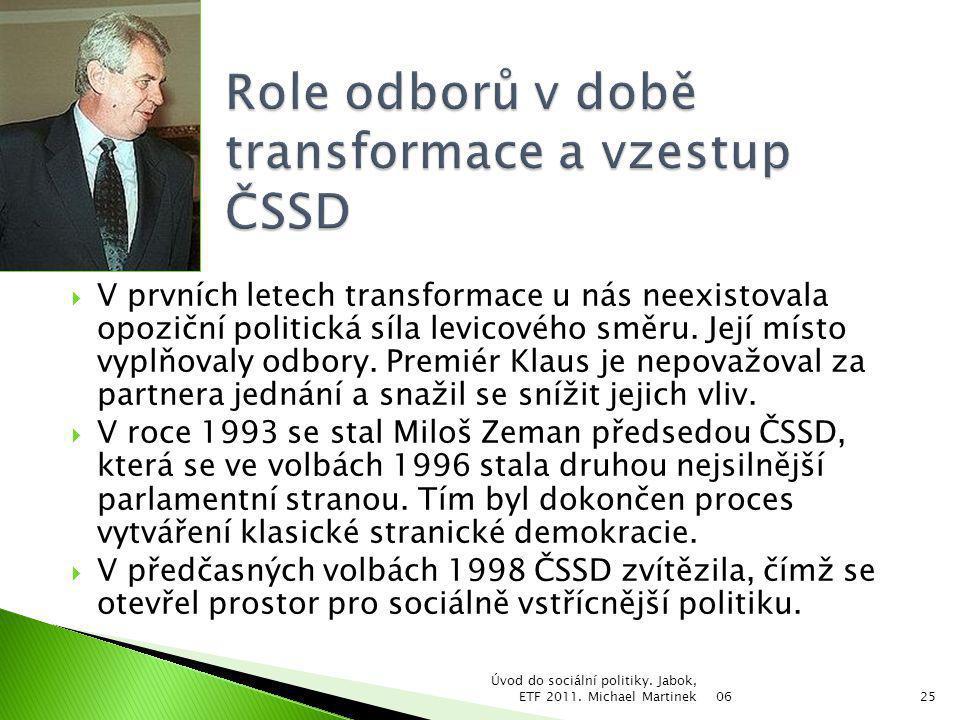 Role odborů v době transformace a vzestup ČSSD