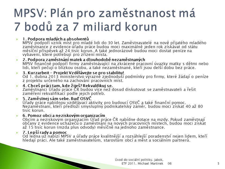 MPSV: Plán pro zaměstnanost má 7 bodů za 7 miliard korun