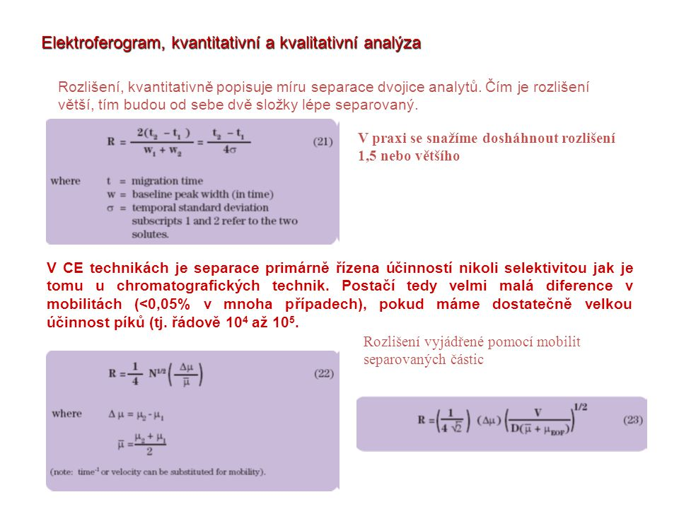Elektroferogram, kvantitativní a kvalitativní analýza
