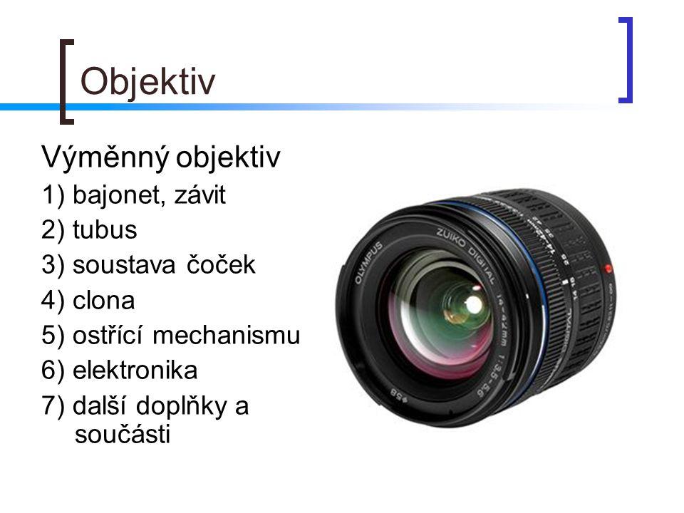 Objektiv Výměnný objektiv 1) bajonet, závit 2) tubus 3) soustava čoček
