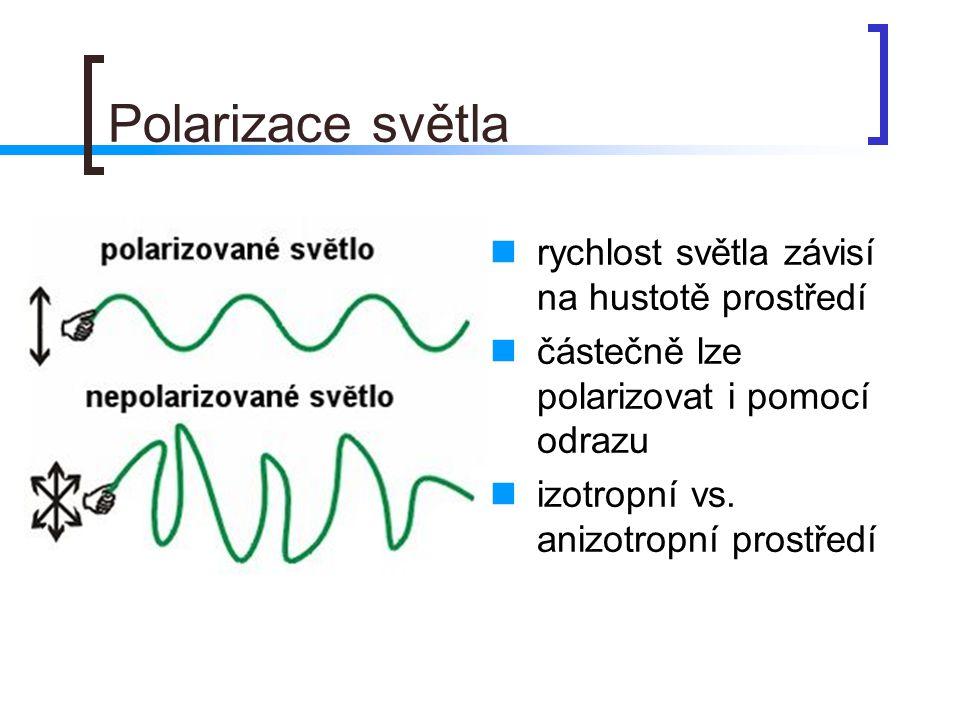Polarizace světla rychlost světla závisí na hustotě prostředí