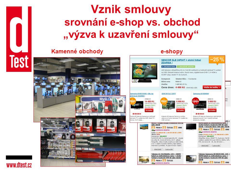 """Vznik smlouvy srovnání e-shop vs. obchod """"výzva k uzavření smlouvy"""
