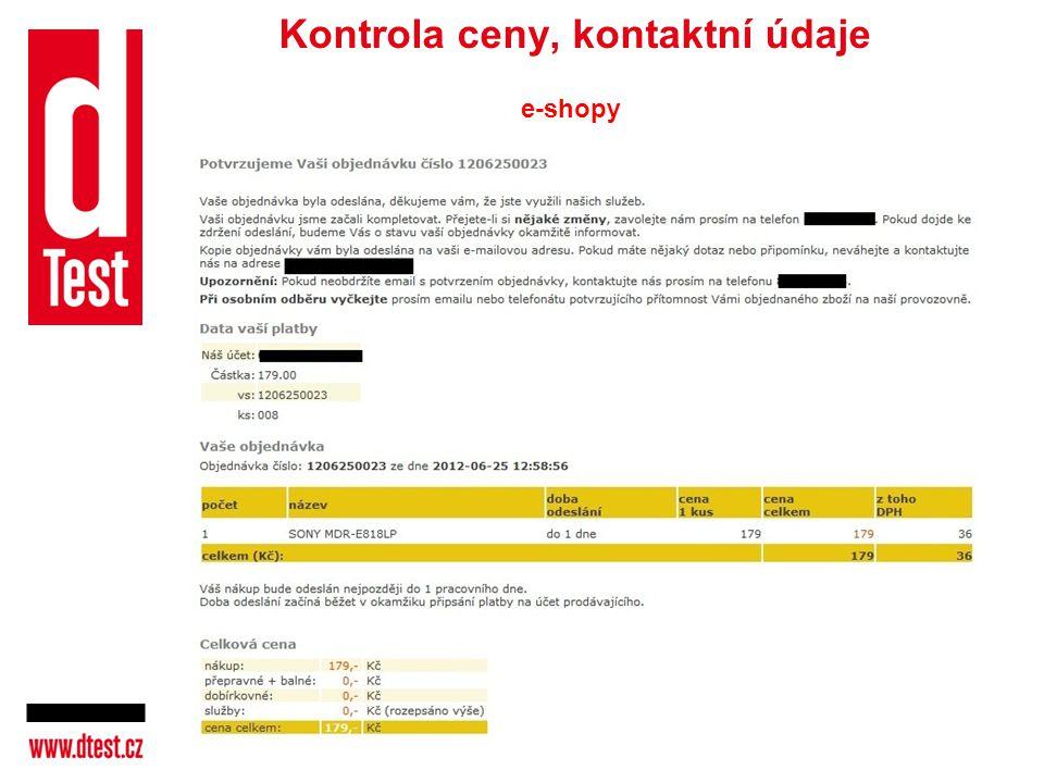 Kontrola ceny, kontaktní údaje